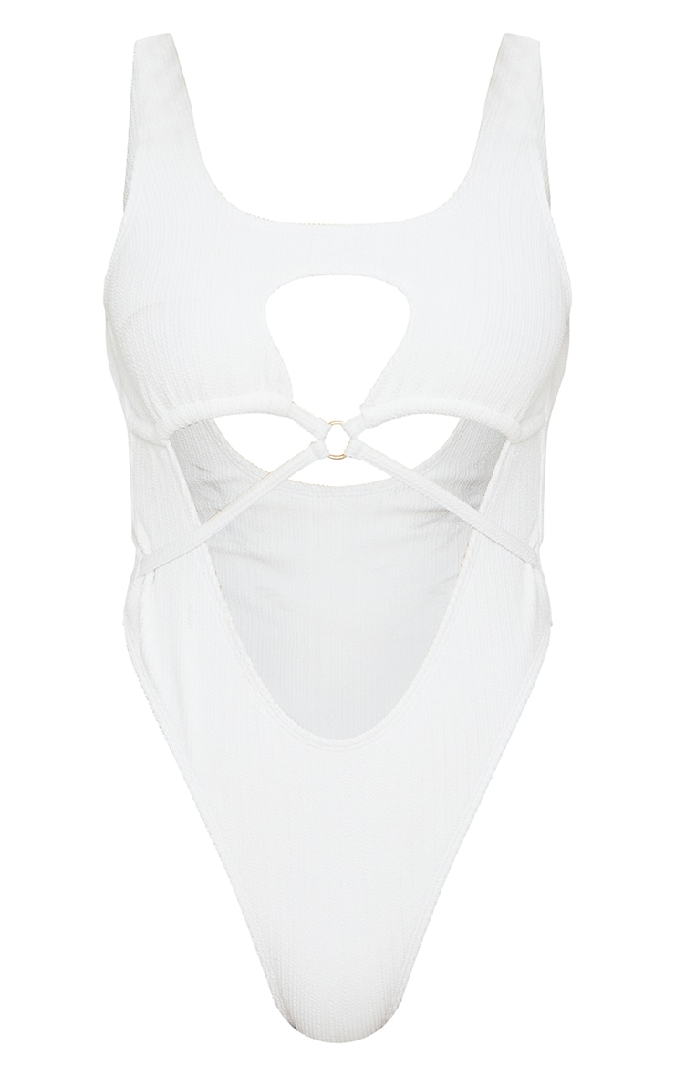 White Mini Crinkle Ring Cut Out Swimsuit 6