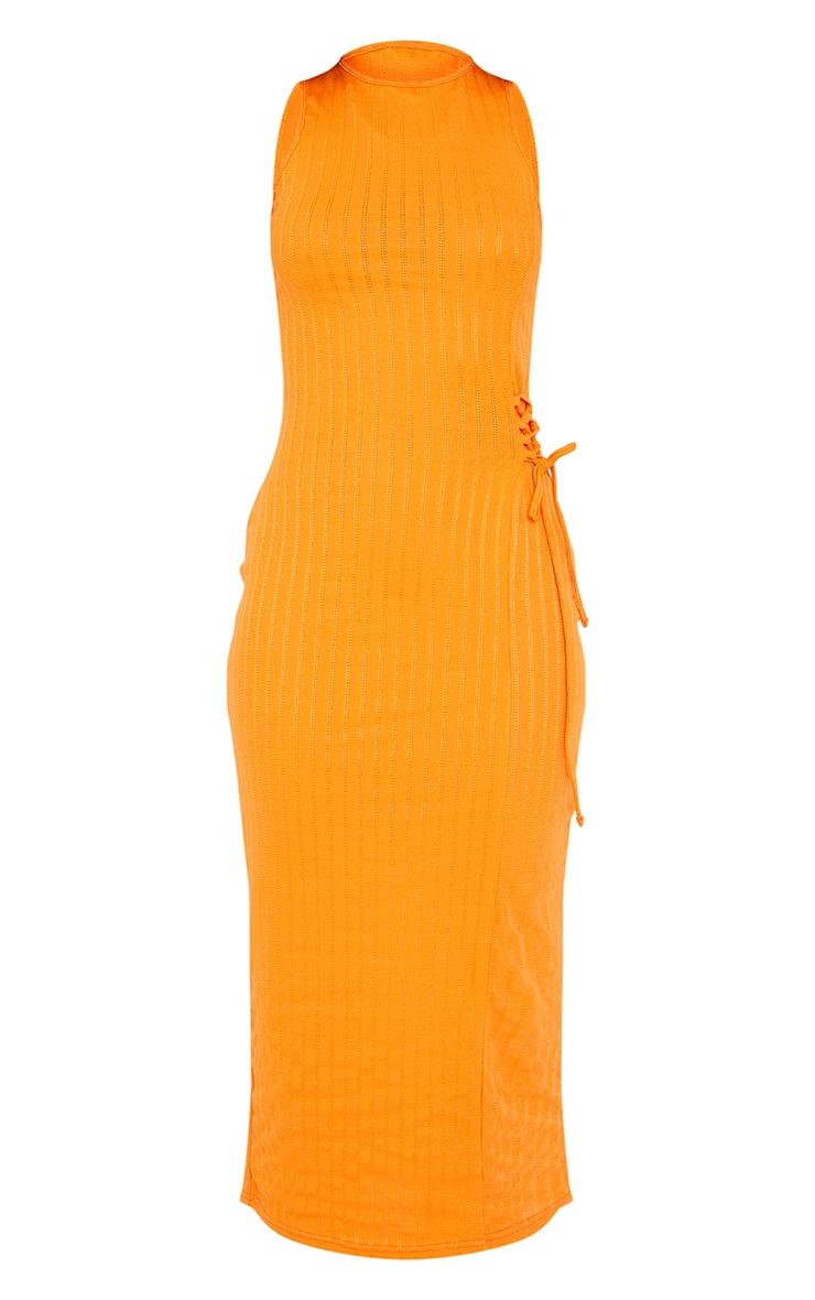 Orange Broderie Rib Sleeveless Midi Dress 5