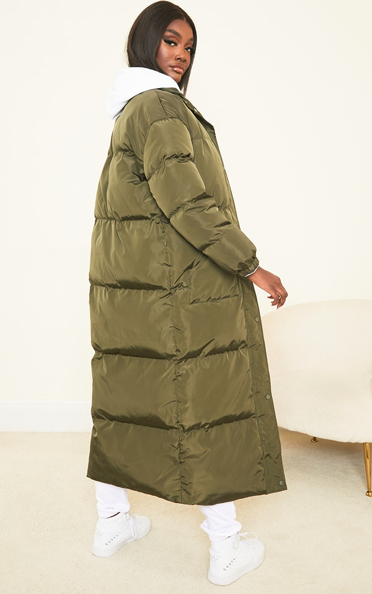 Tall Khaki Maxi Puffer Coat 2