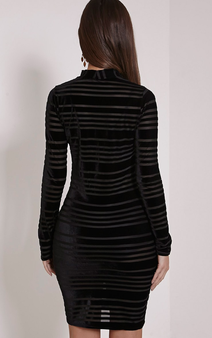 Faye Black Velvet Stripe Bodycon Dress 2