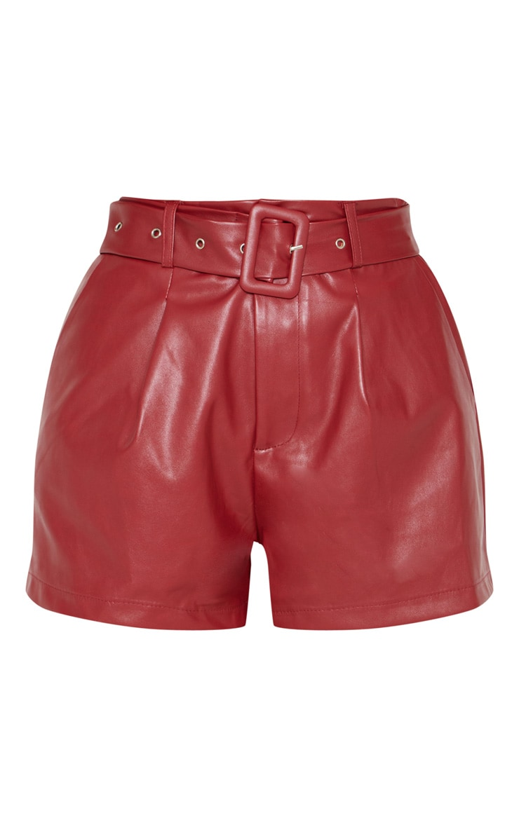 Burgundy Faux Leather Belted Short 3
