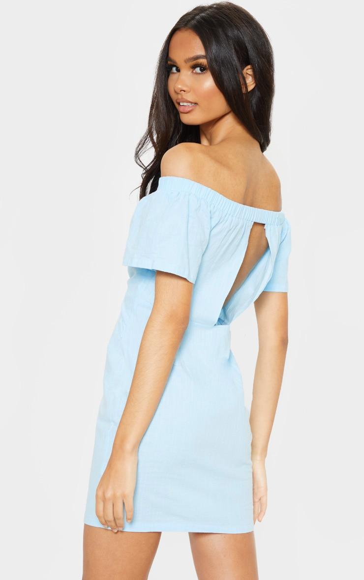 Baby Blue Tie Front Bardot Woven Bodycon Dress 2