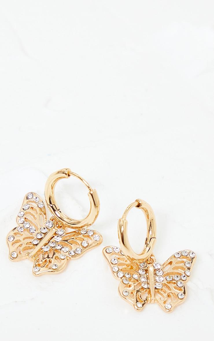 Gold Small Diamante Butterfly Hoop Earrings 1