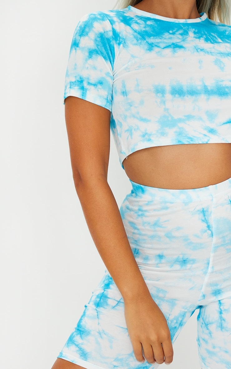 Petite Blue Cycle Short and Crop Top Set 4