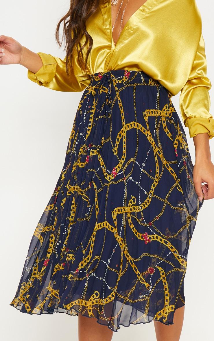 Navy Chain Print Drawstring Waist Pleated Midi Skirt 5
