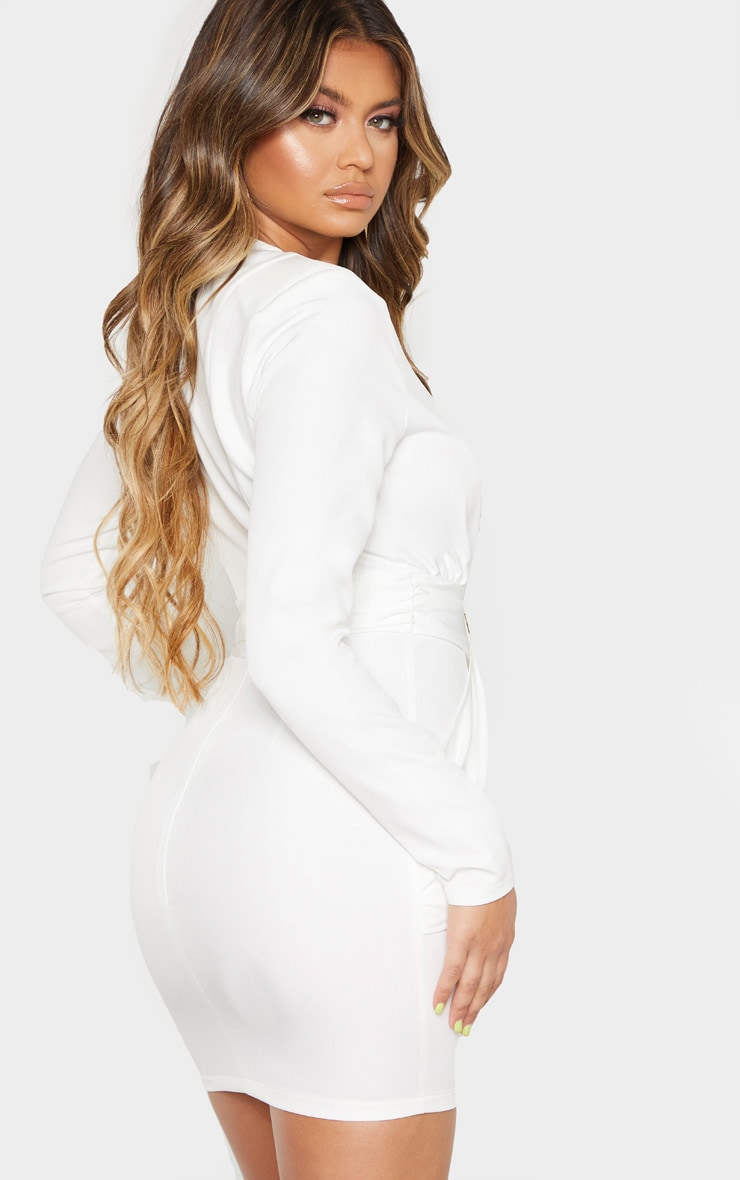 White Extreme Plunge Drape Detail Bodycon Dress 2