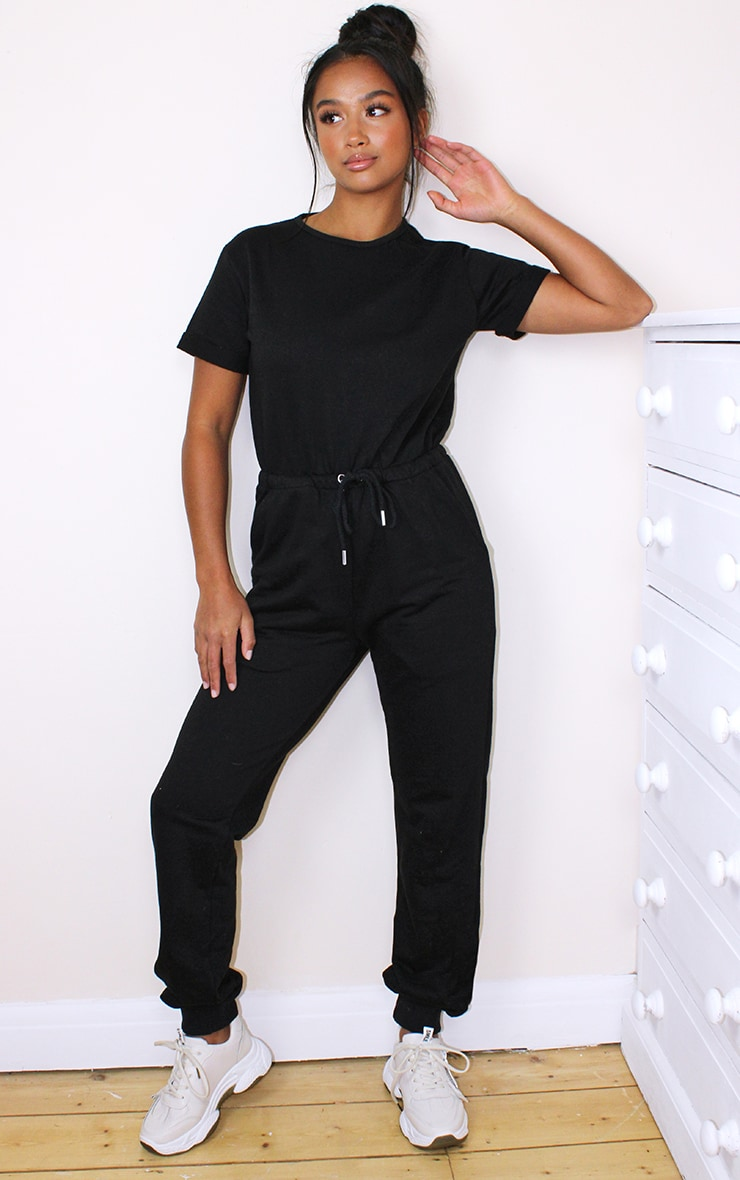 Petite Black Sleeve Sweat Jumpsuit 3