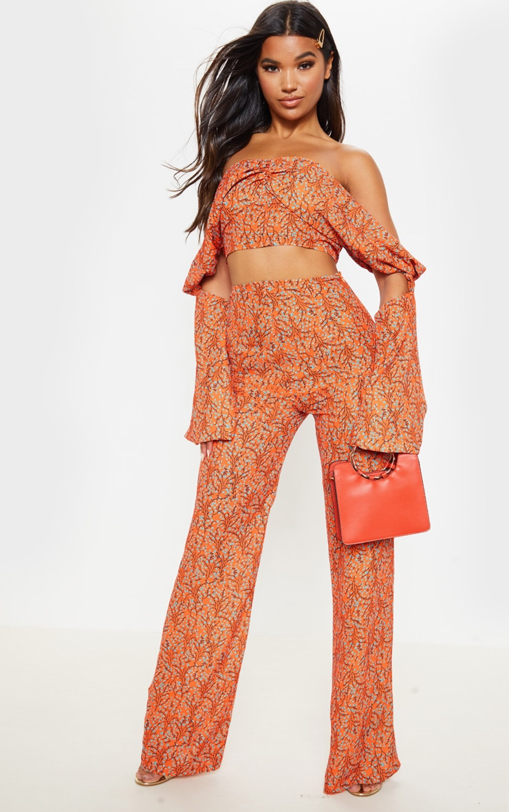 Orange Floral Print Satin Bardot Drape Detail Crop Top 4