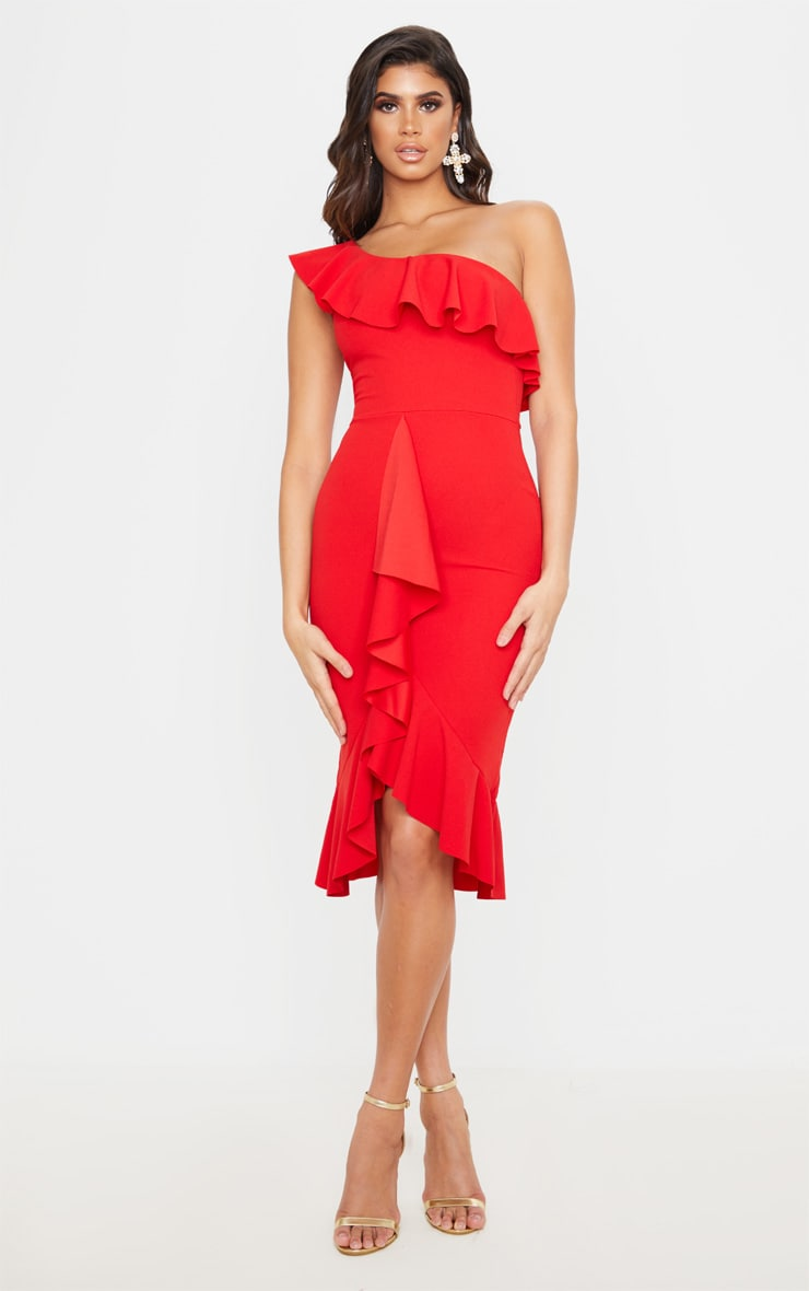 Red One Shoulder Ruffle Detail Midi Dress 1