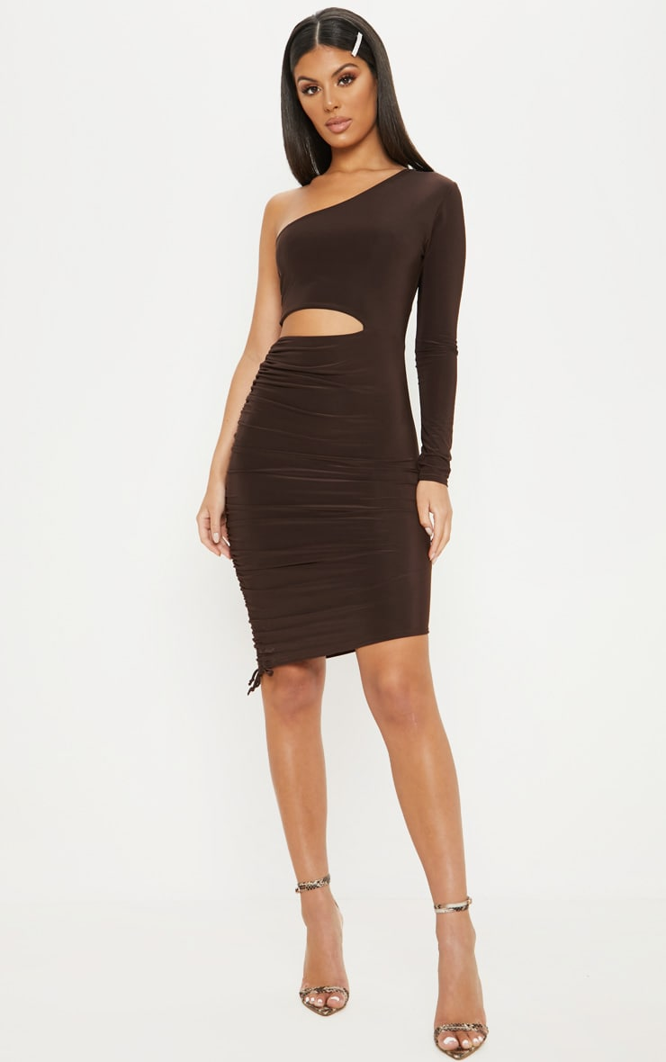 Chocolate Brown Slinky Cut Out Ruched One Sleeve Bodycon Dress 1