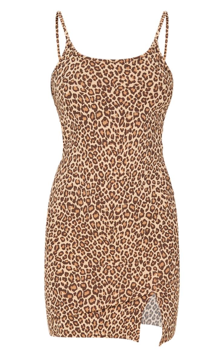 Brown Leopard Print 2 In 1 Strappy Split Front Shift Dress 3