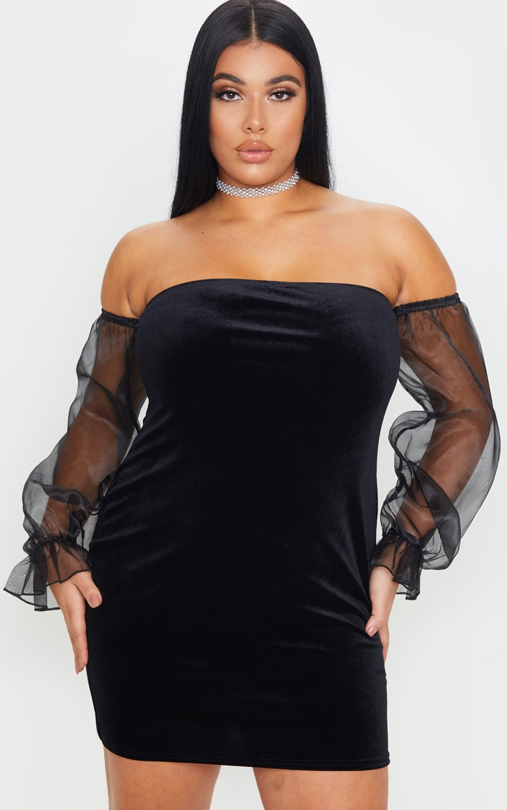 Plus Black Velvet Organza Sleeve Bodycon Dress 4