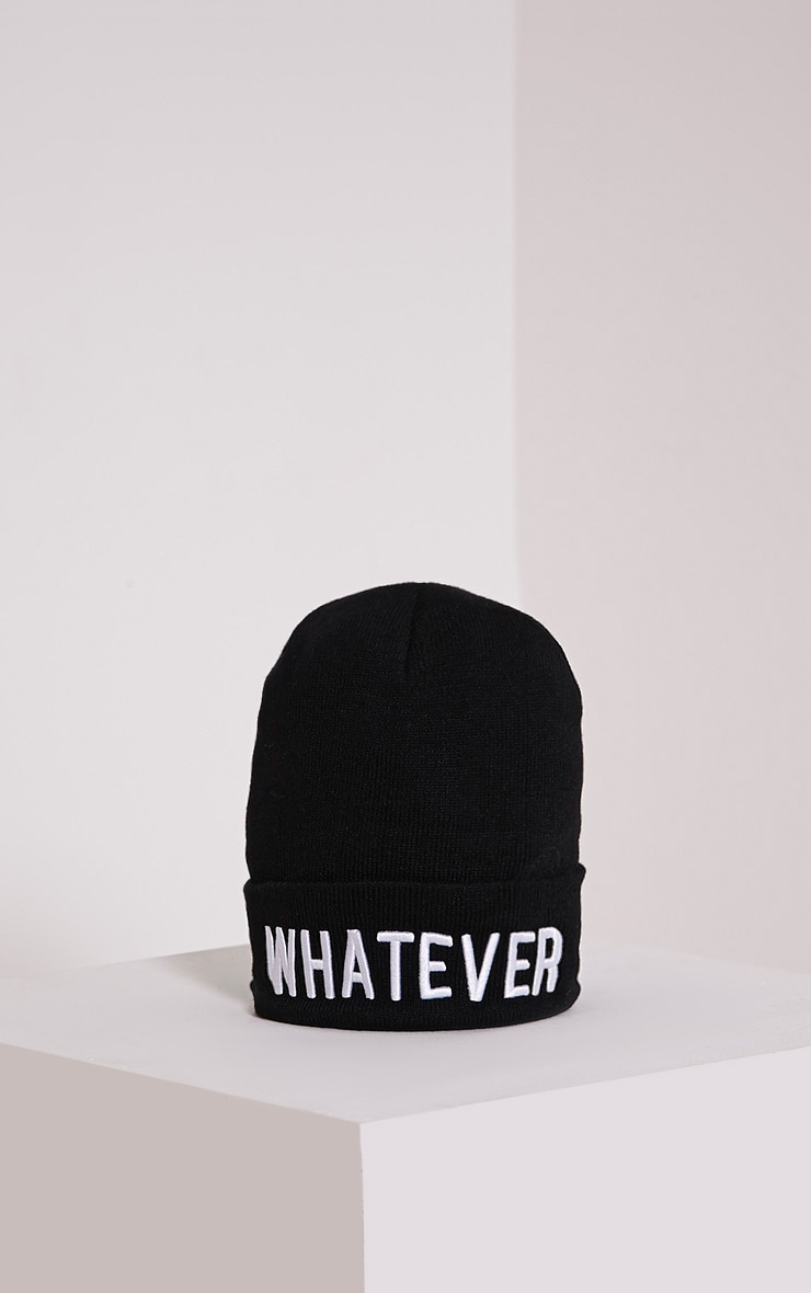 Whatever Black Beanie Hat 3