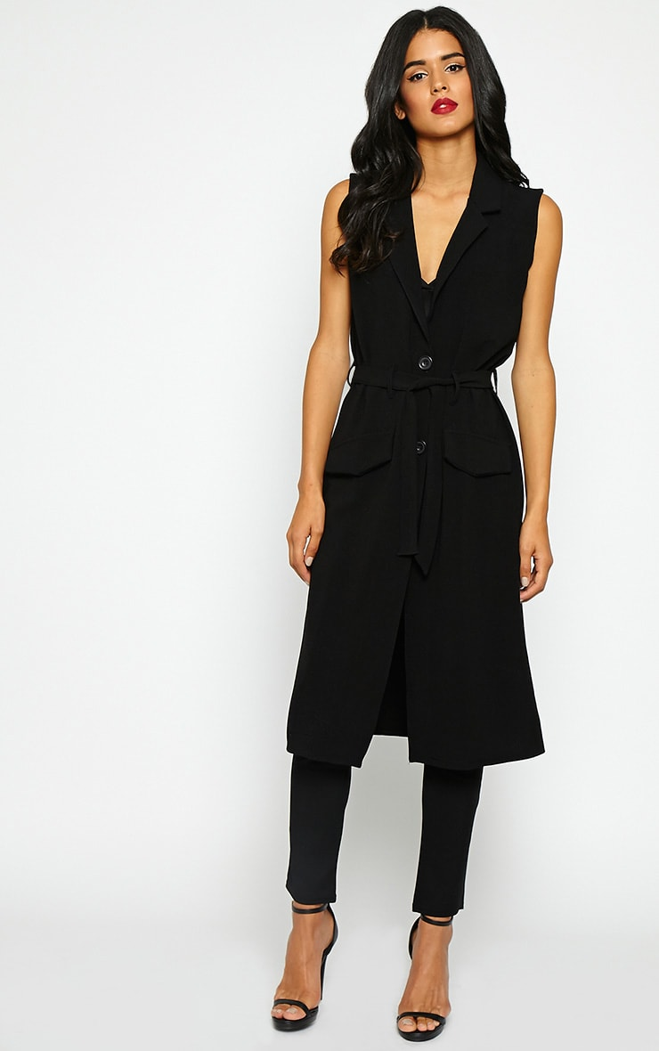 Phaedra Black Crepe Longline Sleeveless Trench 1