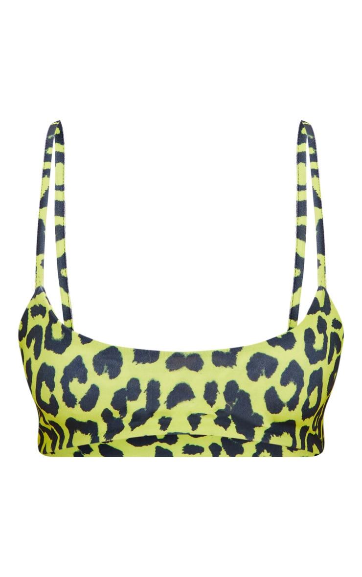 Lime Cheetah Print Low Scoop Bikini Top 3