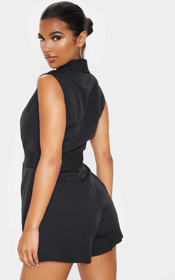 Black Tailored Belted Romper 2