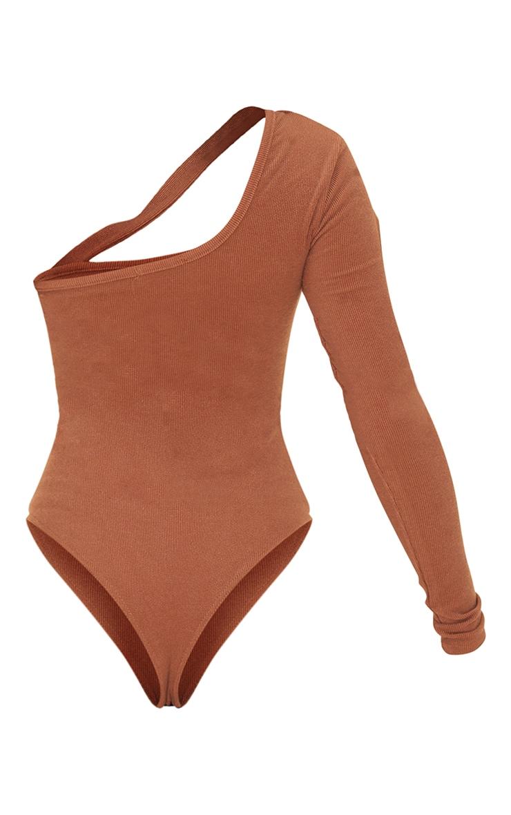 Chocolate Crinkle Rib Asymmetric Bodysuit 6