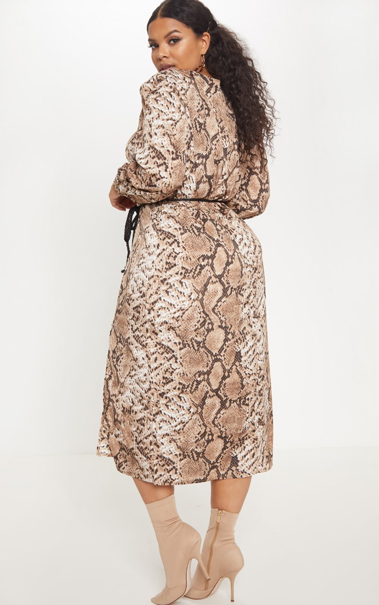 Plus Taupe Tie Waist Snake Print Midi Dress 2