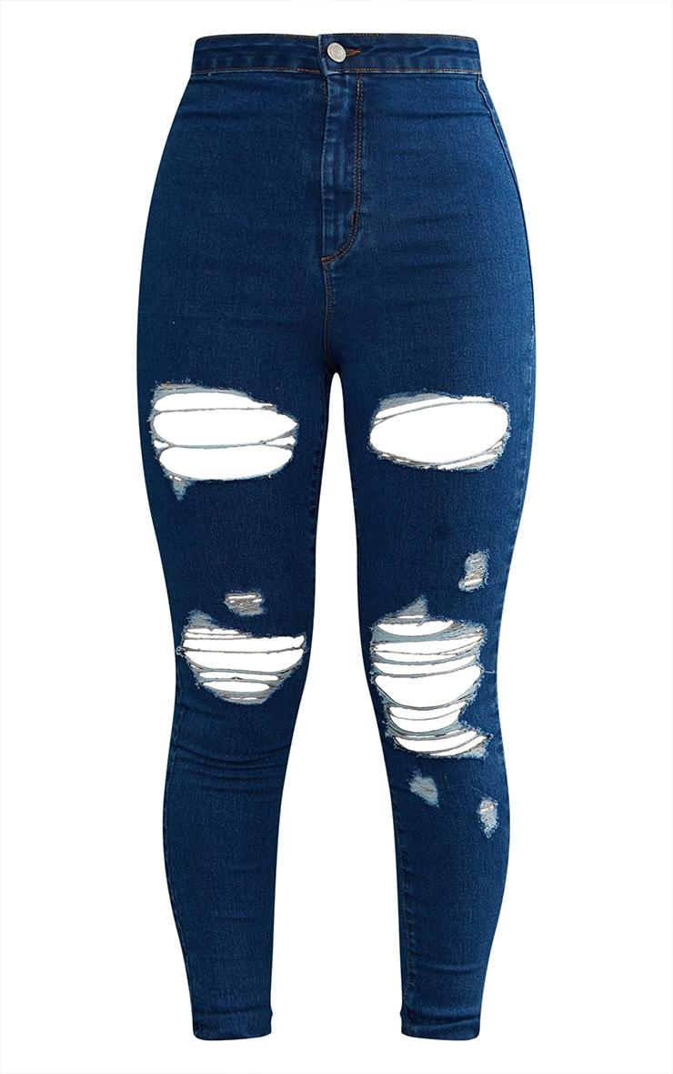 PRETTYLITTLETHING - Jean disco skinny déchiré à délavage bleu moyen 5