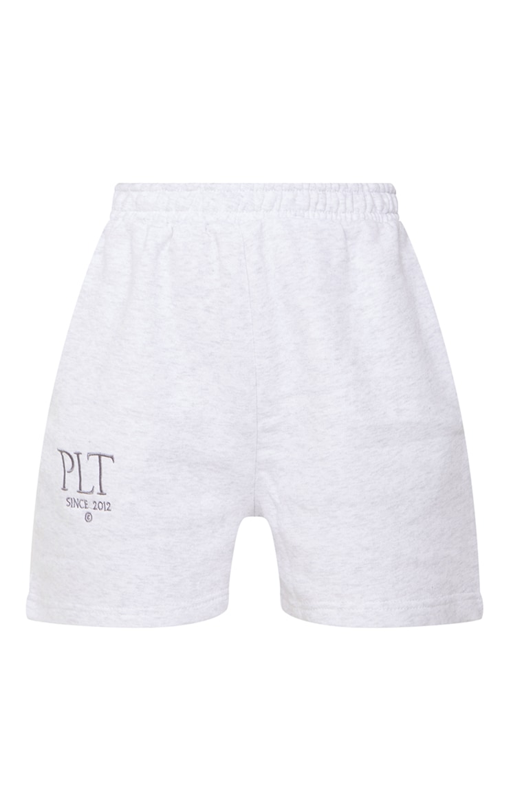 PRETTYLITTLETHING Ash Grey Established Graphic Sweat Shorts 6