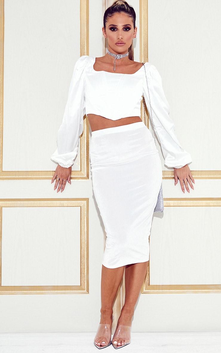 White Velvet Midi Skirt  1