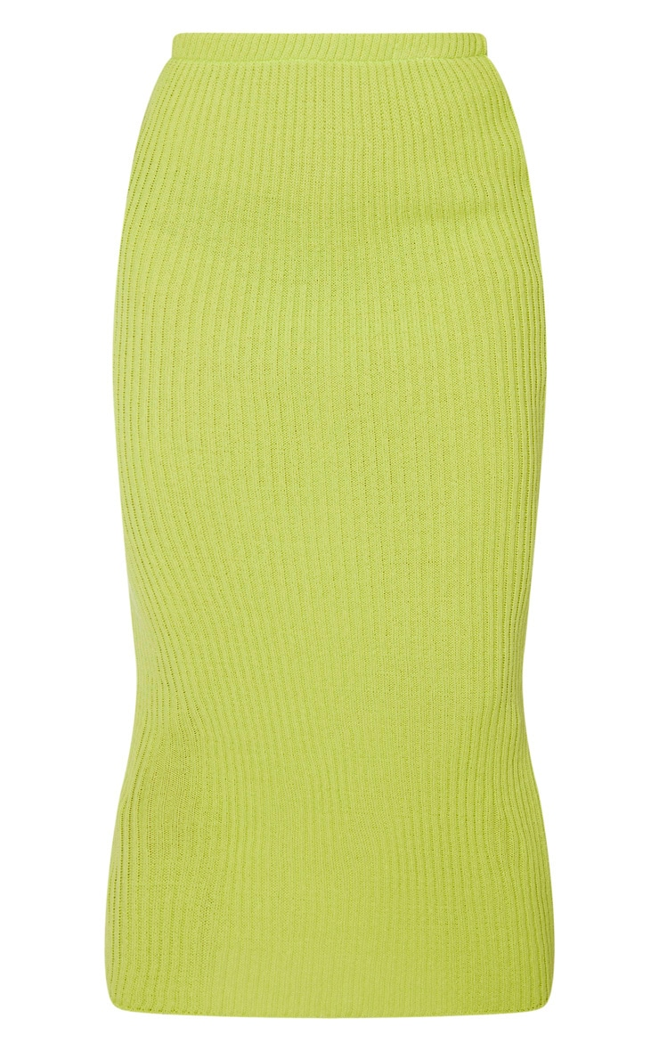 Tall Neon Green Knitted Midi Skirt 3