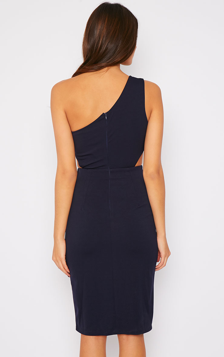 Angelina Navy One Shoulder Cut Out Midi Dress 2