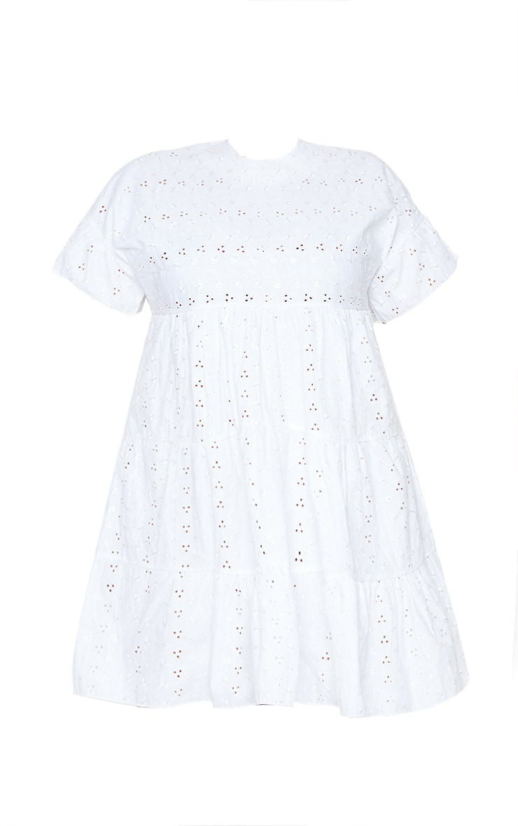 Plus White Broderie Anglaise Smock Dress 6