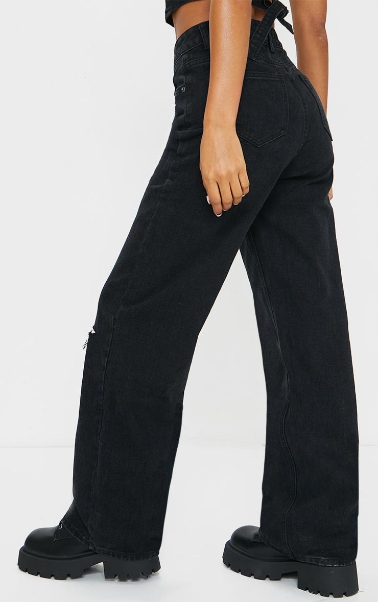 Washed Black Knee Rip Wide Leg Jeans 3