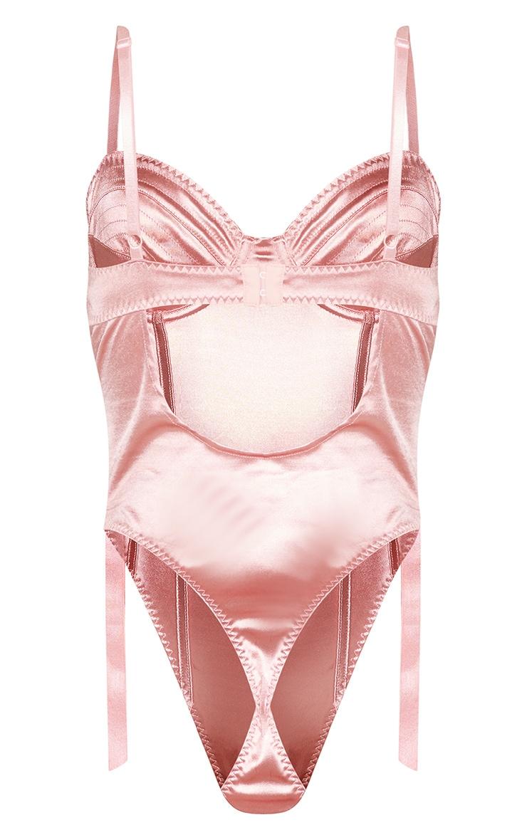 Pink Metal Trim Suspender Strap Satin Body 6