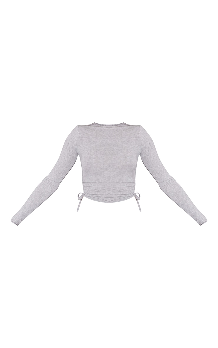 Grey Jersey Ruched Side Long Sleeve Crop Top 5