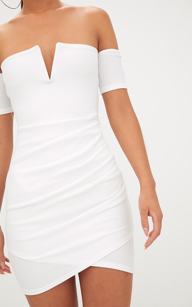 White Bardot Wrap Front Bodycon Dress 5