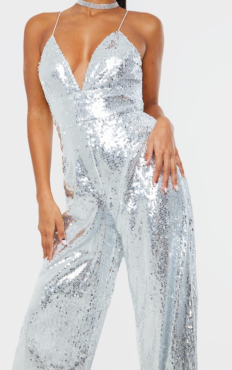 Silver Sequin Plunge Jumpsuit 4