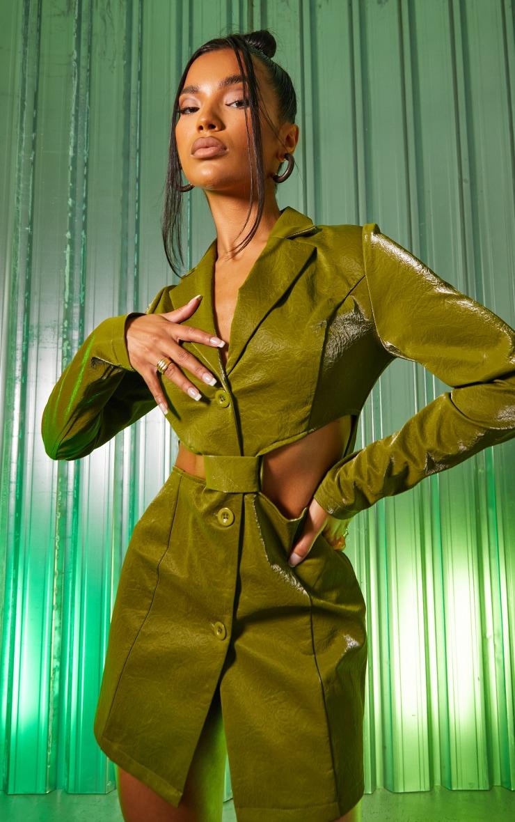 Green Textured PU Long Sleeve Cut Out Waist Blazer Dress 1