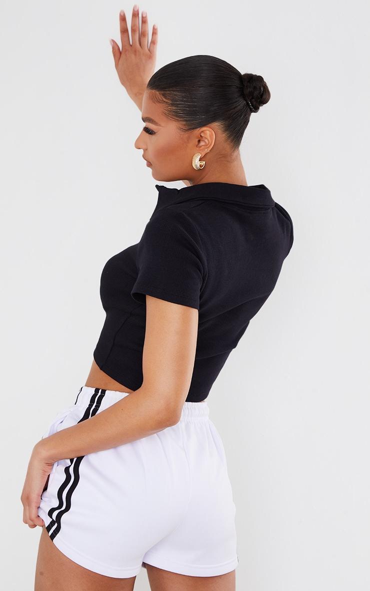 Black Rib Button Up Short Sleeve Polo Shirt 2
