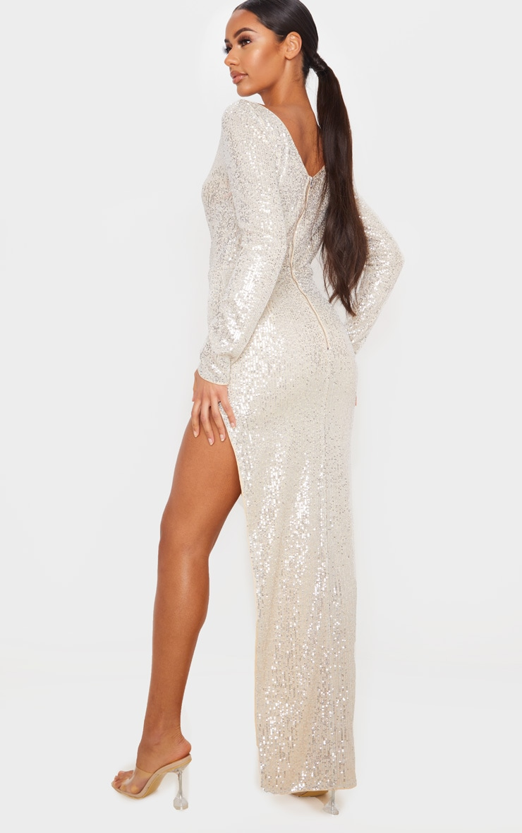 Silver Sequin Long Sleeve Plunge Maxi Dress 2
