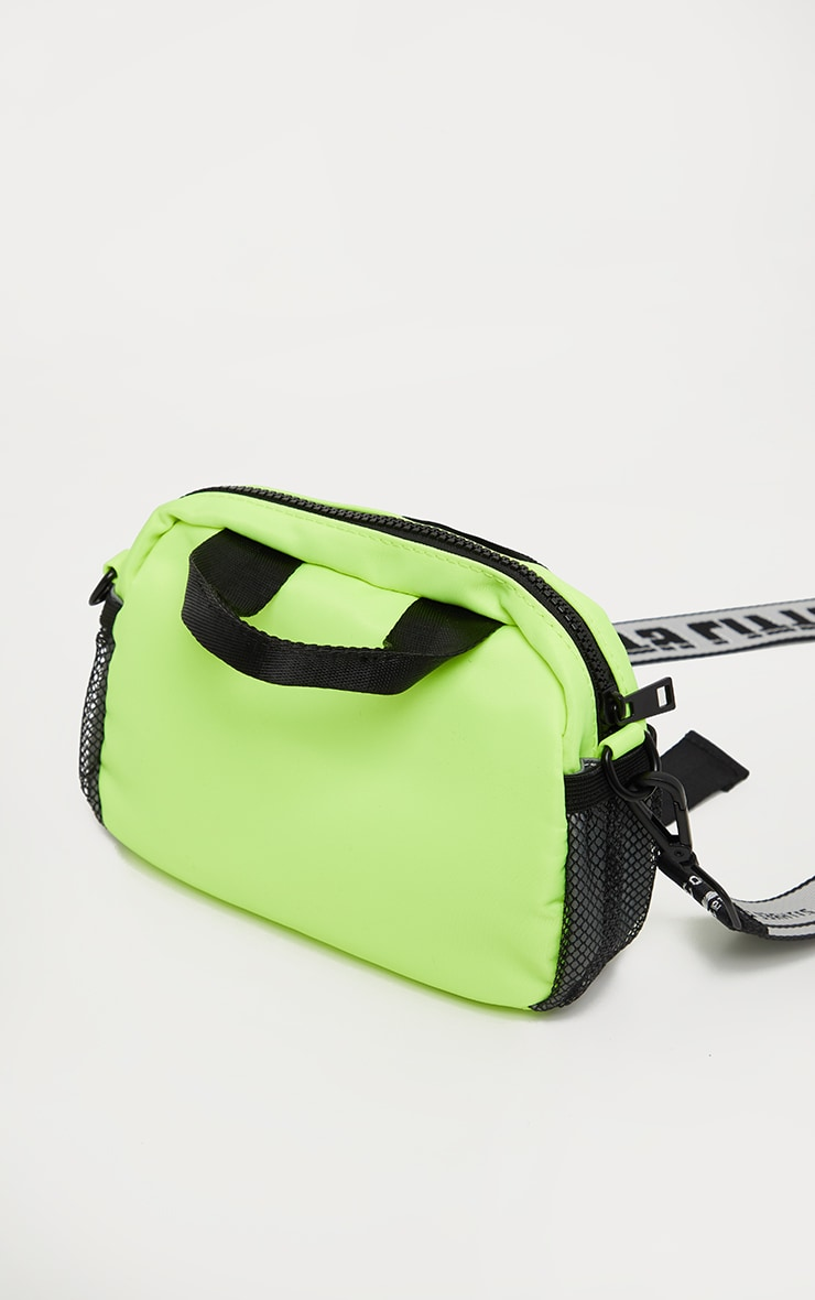 PRETTYLITTLETHING Lime Double Clasp Nylon Mini Bag 3