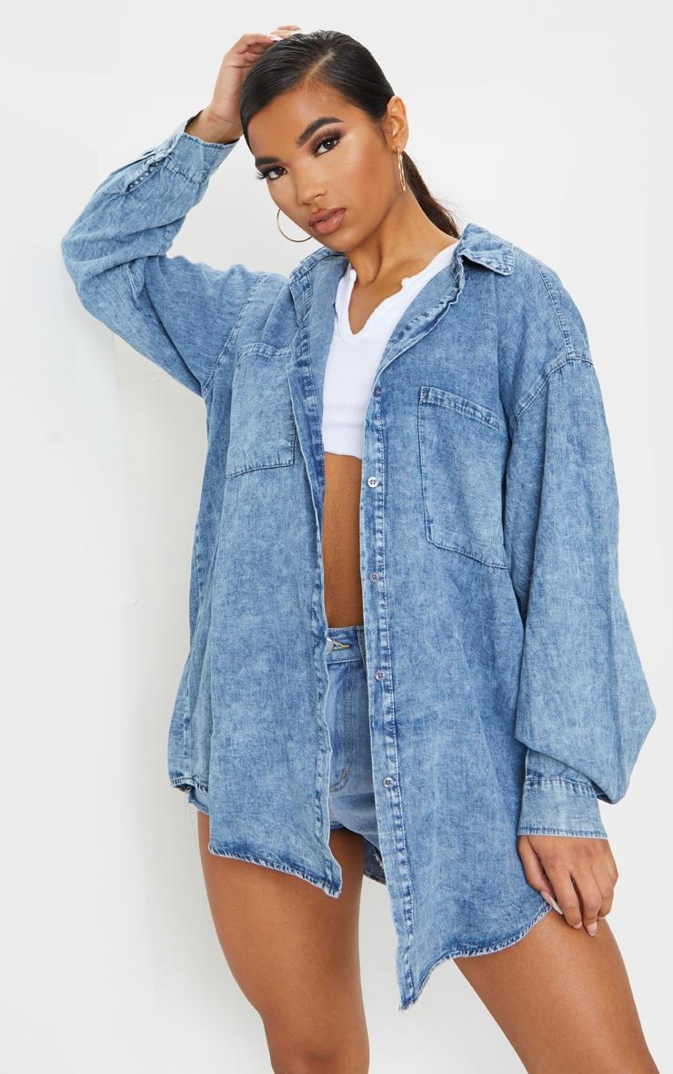 Acid Blue Wash Chambray Oversized Denim Shirt 1