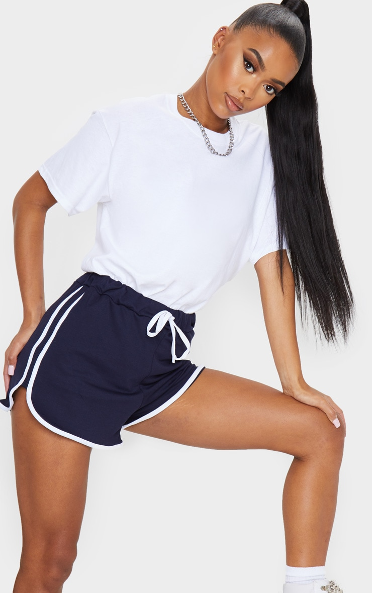 Navy Double Side Stripe Runner Shorts 1