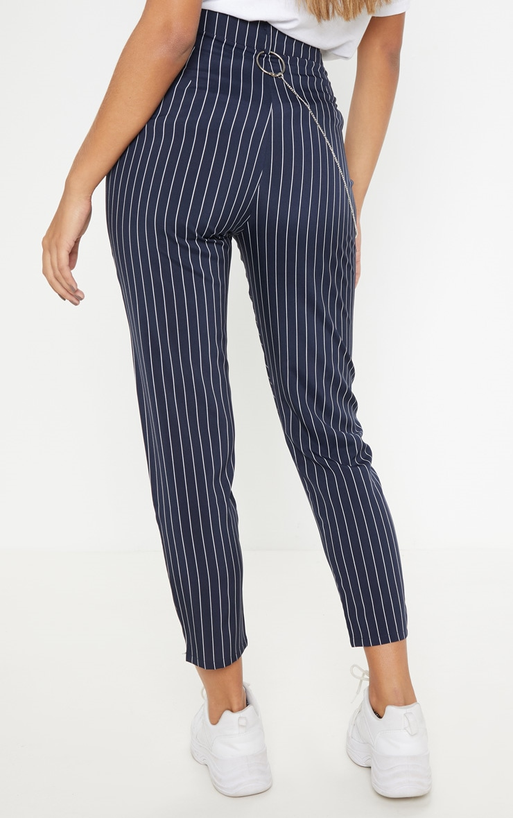 Navy Pinstripe Chain Detail Slim Leg Pants 4