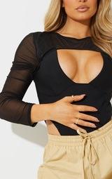 Black Mesh Overlay Rib Bodysuit 4