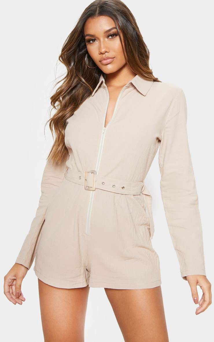 Stone Long Sleeve Belted Playsuit 1