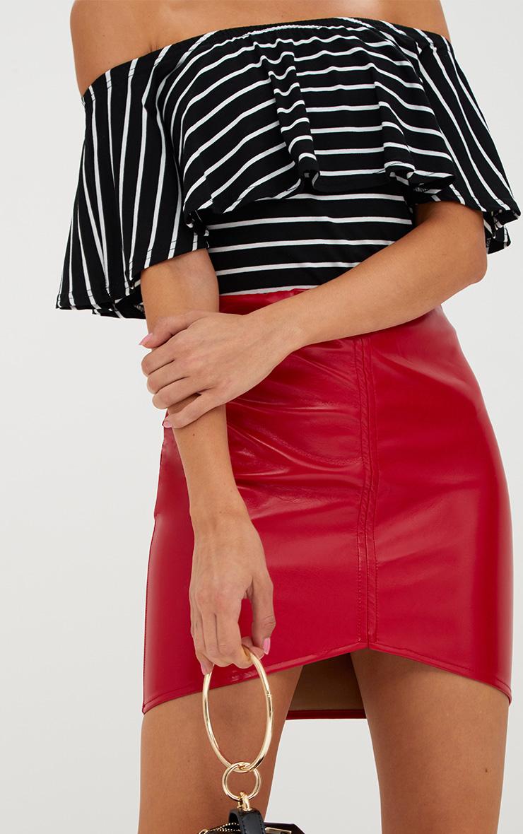 Black Stripe Frill Bardot Top 5