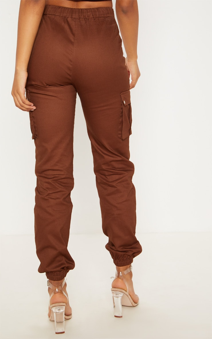 Tall Chocolate Brown Pocket Detail Cargo Pants 4