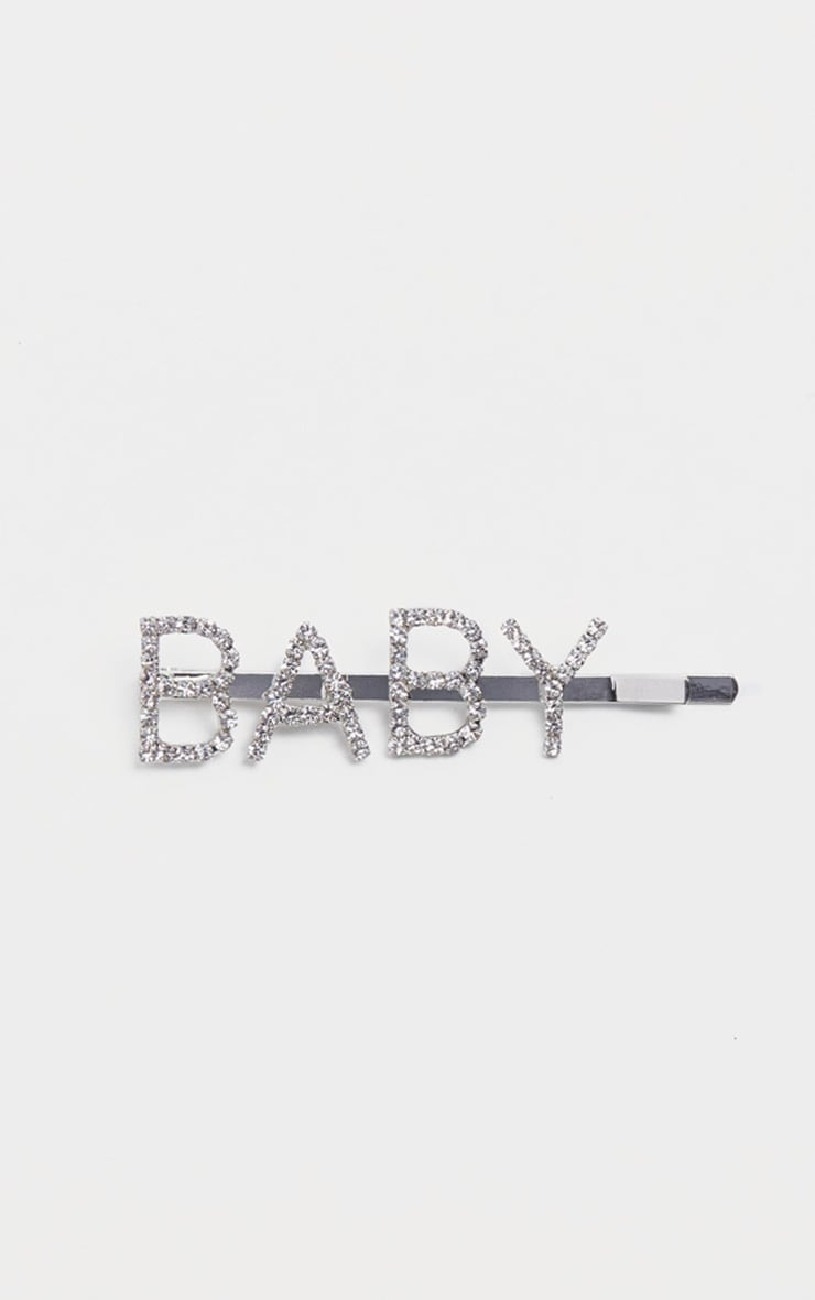 Silver Diamante Baby Slogan Hair Slide 2