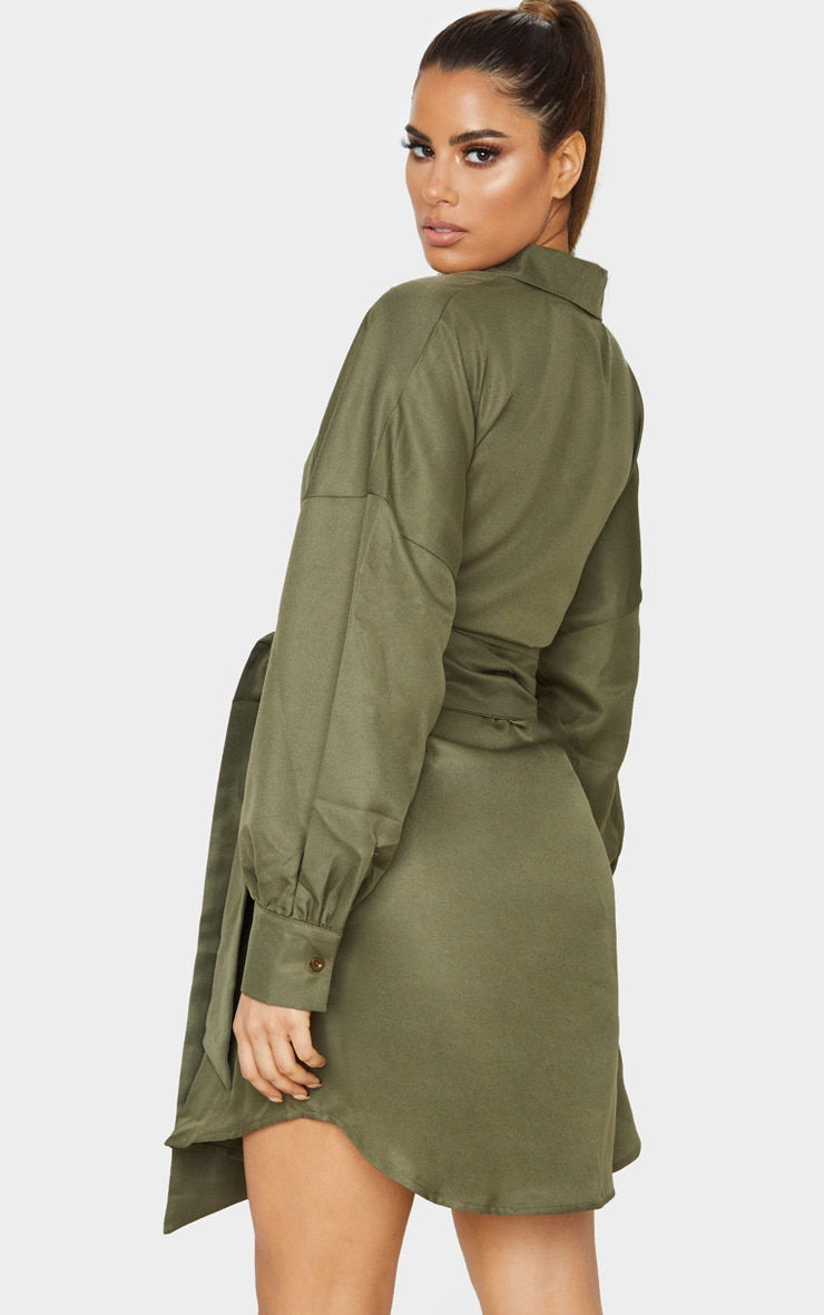 Tall Khaki Belted Tie Shirt Dress 2