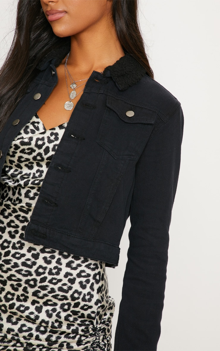 Black Borg Collar Cropped Denim Jacket 5