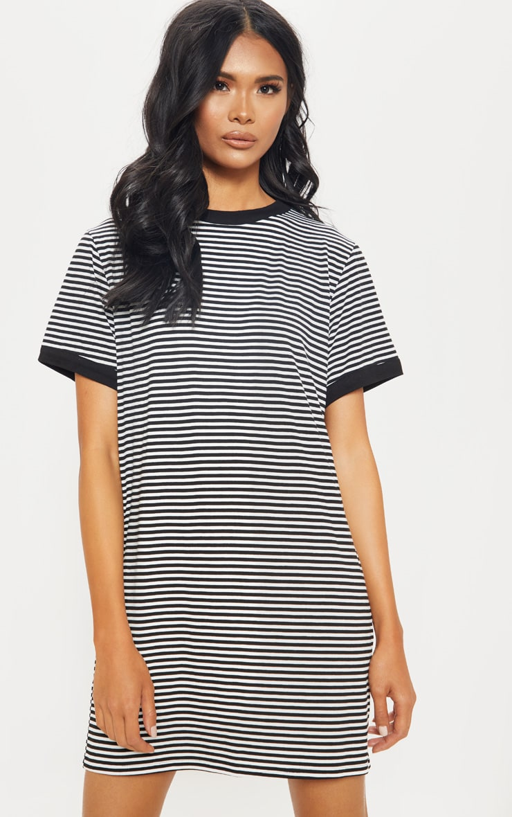 Black Stripe Crew Neck T Shirt Dress 1