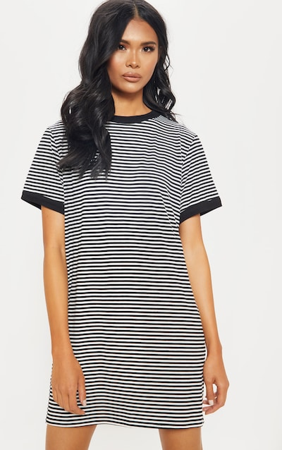 ece628242bed6 Black Stripe Crew Neck T Shirt Dress