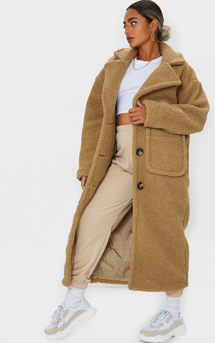 Petite Camel Maxi Borg Coat 3